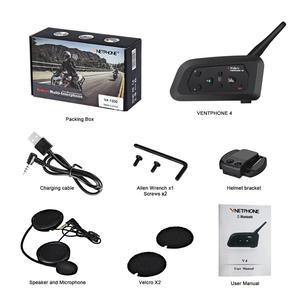 Image 5 - V4 Intercom Intercomunicadores De Casco Moto Helm Bluetooth Headset Intercomunicador Moto Radio 4 Fahrer 1200m Intercom Moto
