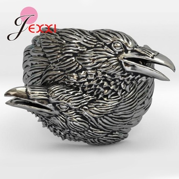 Viking Men Two Entwined Ravens Ring Norse Mythology Antique Silver Crow Rings Nordic Amulet Jewelry Gifts Party image