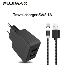 PUJIMAX USB Charger 2 Ports with 1M magnetic cable For Samsung Wall/Travel Portable Mobile Phone Charging Adapter