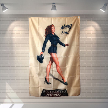 Mary Lou Rock Band Hanging Art Waterproof Cloth Polyester Fabric 56X36 inches Flags banner Bar Cafe Hotel Decor image