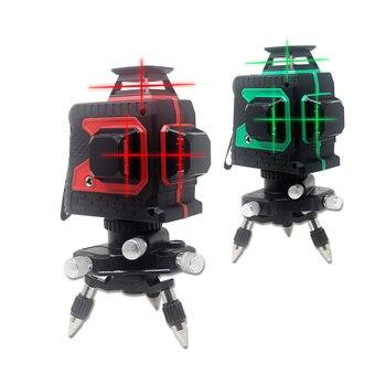 Лазерный уровень, красный, зеленый, 12 линий, 3D, 360 градусов, перекрестный, измерительный инструмент для строительных инструментов со штативо