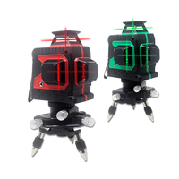 Red Green 12 Lines 3D Laser Level 360 Degree Cross Line Level Measuring Instruments for Construction Tools With Tripod