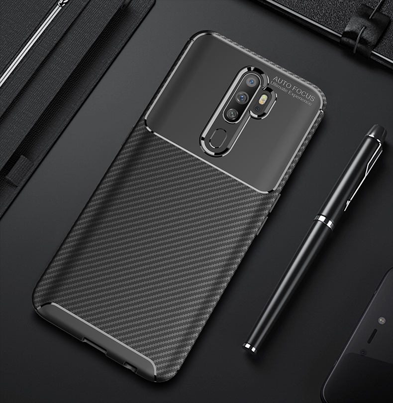 Luxury <font><b>Case</b></font> For <font><b>OPPO</b></font> A9 <font><b>2020</b></font> <font><b>A5</b></font> <font><b>2020</b></font> Reno 2 Z 2Z ZF Reno Ace Find X2 Pro Soft Silicone Carbon Fiber Protection Shockproof <font><b>Case</b></font> image