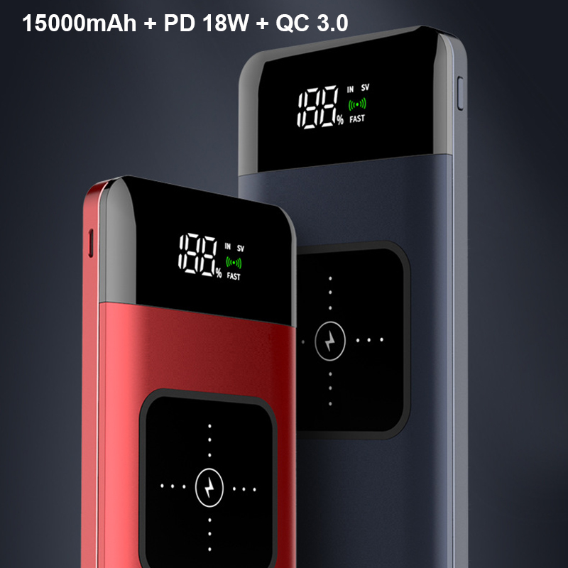 <font><b>15000mAh</b></font> Wireless <font><b>Power</b></font> <font><b>Bank</b></font> 18W PD fast charge QC 3.0 Portable Powerbank Universal Mobile Phone External Battery for <font><b>Xiaomi</b></font> image
