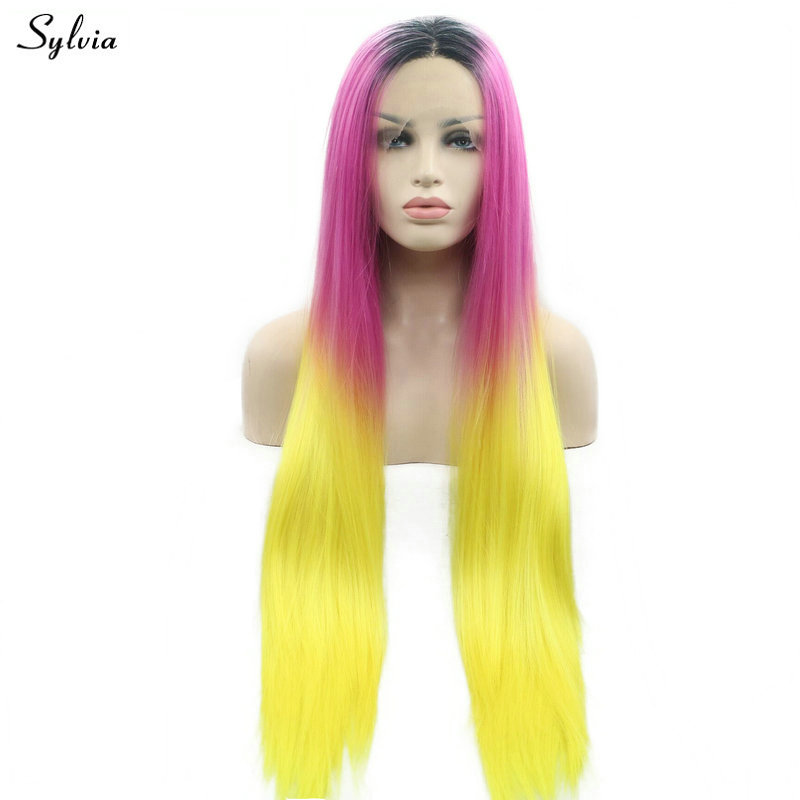 Sylvia Warm Rose red/Yellow Ombre Dark Roots Drag Queen Synthetic Lace Front Wigs for Women Cosplay Festival Long Straight Hair