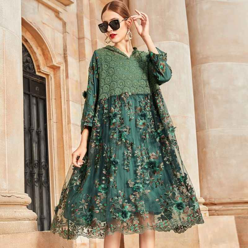 2020 New Spring Summer Women Lace Patchwork Floral Embroidery Dress Female Loose Mesh Hooded Dresses Vestidos Plus Size 4xl S213