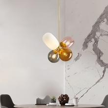 โมเดิร์นแขวนเพดานโคมไฟสี่สีแก้วโคมไฟ E27 จี้ไฟสำหรับห้องครัวห้องนอน