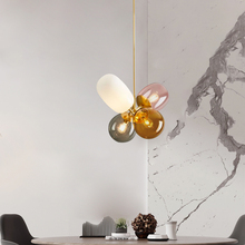 Modern hanging ceiling lamps four color glass lampshade E27 pendant lights for Restaurant kitchen bedroom lighting