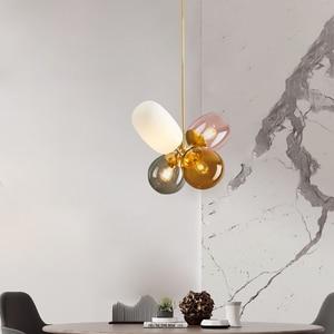 Image 1 - Moderno pendurado lâmpadas de teto quatro cor vidro abajur e27 luzes pingente para restaurante cozinha quarto iluminação