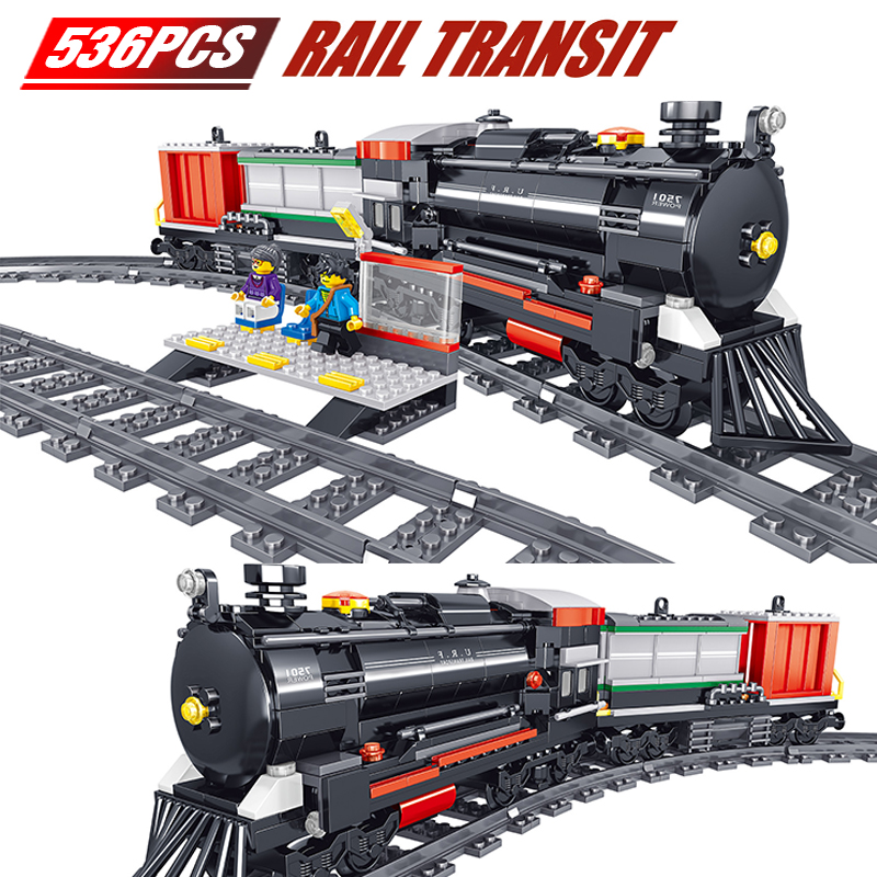 New Technic Series Train Station Model Kit Compatible Rail Track Building Block DIY Bricks Toys For Children Gifts