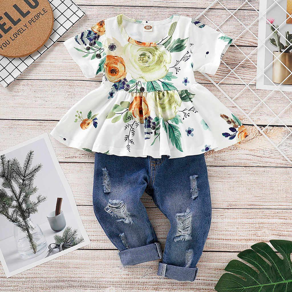 Lindo de manga corta bebé niña Floral cultivo Tops + Denim agujero pantalones de Jean De niño chico ropa trajes ropa conjunto L1225