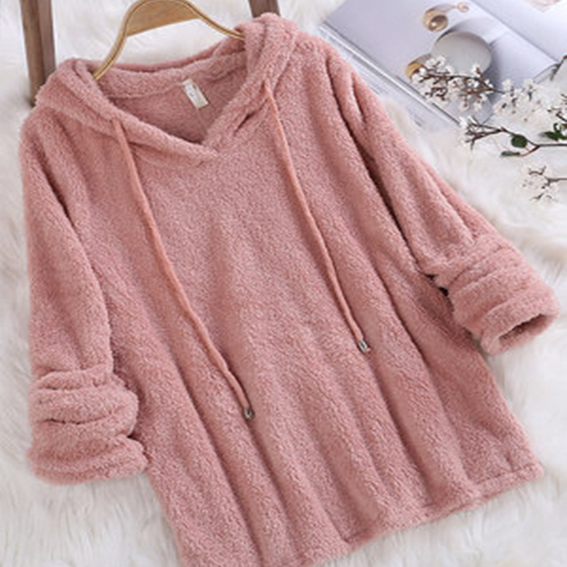Hoodies For Women Pullover Sweatshirt Autumn Spring Large Size 5XL Double-sided Fleece Solid Color Long-sleeved Fur Hooded Tops