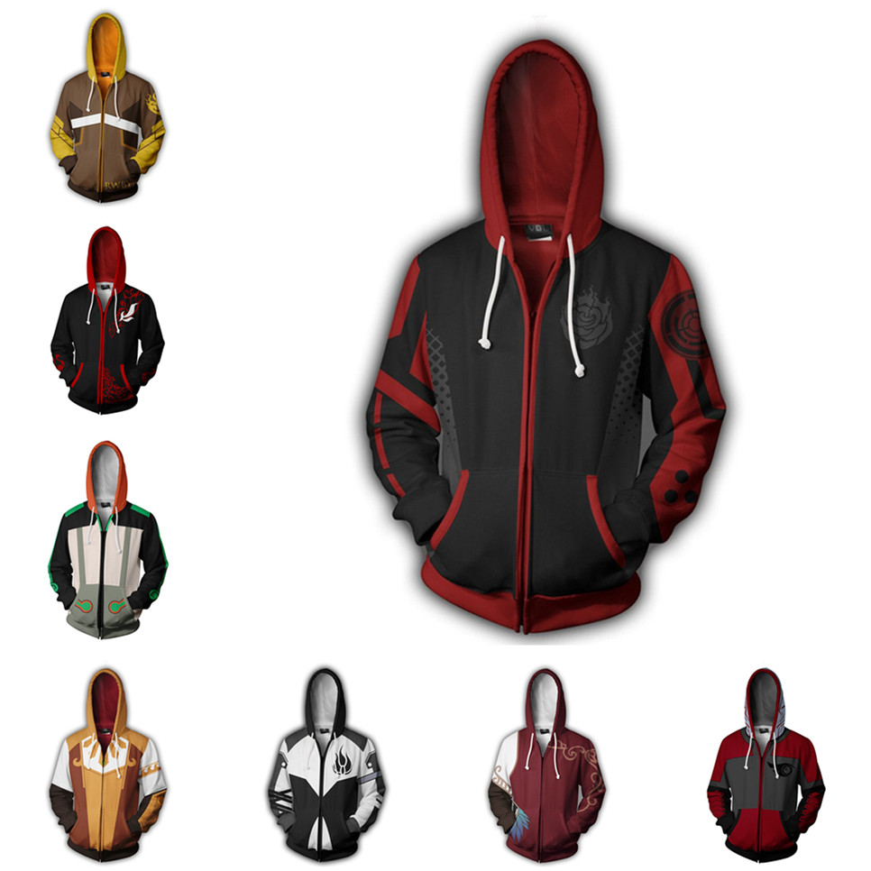 3D Rrint Anime Sweatshirts Hoodies RWBY Cosplay Costume Ruby Rose Crescent Rose Men Woman Casual Hooded Jackets Clothing Top