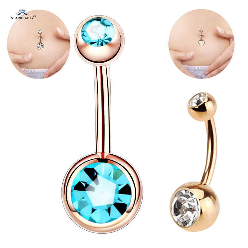 1 шт., двойные Хрустальные шарики для пирсинга пупка, серьги-пупка для пупка, кольца для пирсинга живота золотого цвета, ювелирные изделия для тела