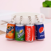 Cute Cans Cartoon Cola Bottle Key Chains Bags Car Key Ring Keychains Women Men K