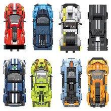 Velocidade campeões super pilotos esportes carro de corrida modelo blocos de construção diy tijolos moc define clássico técnico cidade grandes veículos