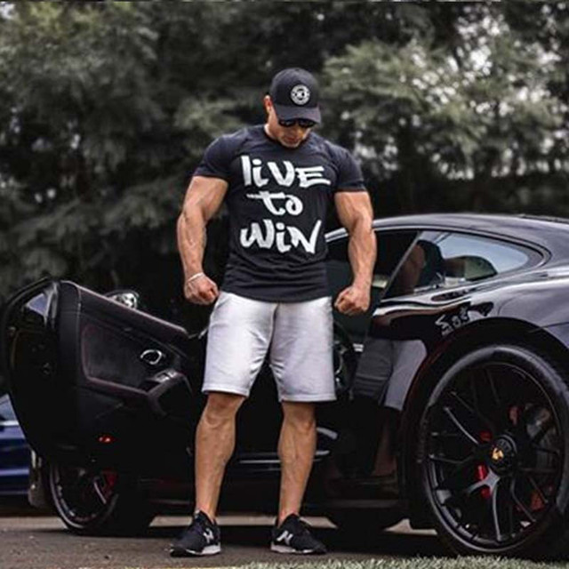 Compression T-shirt Jogger Sporting Skinny Tee Shirt Male Gyms Fitness Bodybuilding Workout grey red Tops Clothing