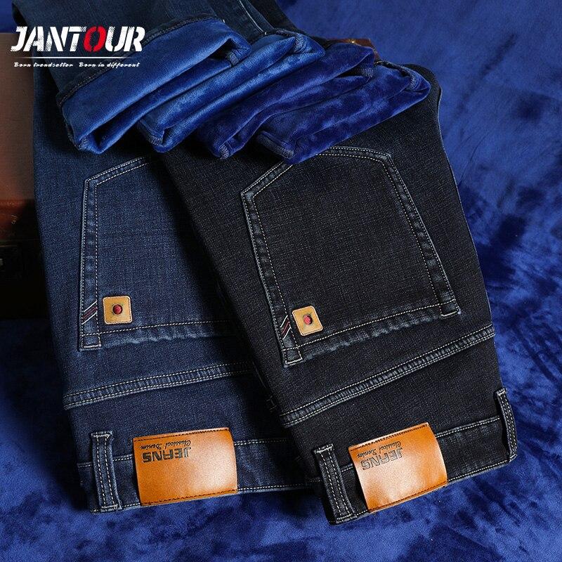 (На флисе и регулирования) мужские зимние джинсы мужские теплые толстые флисовые джинсы прямого покроя брюки хлопковые мужские трусы, больш...