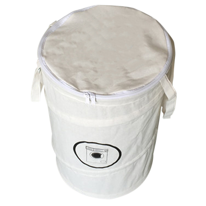 ABUI-Fashion Cotton Linen Laundry Basket Foldable Dirty Clothing Bag Basket Folding Laundry Bag With Zipper Laundry Basket