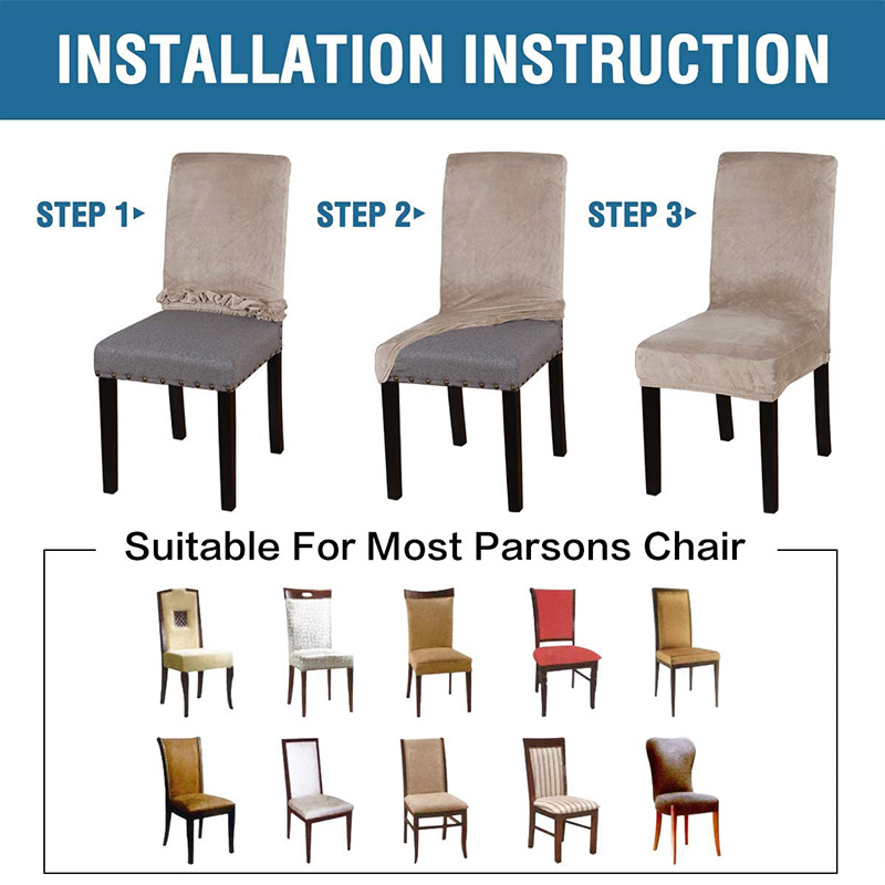 Spandex Elastic Velvet Dining Chair Cover 4 Chair And Sofa Covers