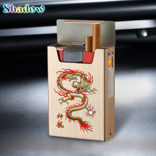 Portable Cigarette Case With Lighter 20pcs Cigarette Holder Waterproof Cigarette Box USB Rechargeabl