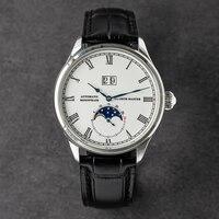 Reloj de acero inoxidable para hombre, con zafiro, fase lunar, calendario mecánico automático, cronógrafo de lujo, fecha automática