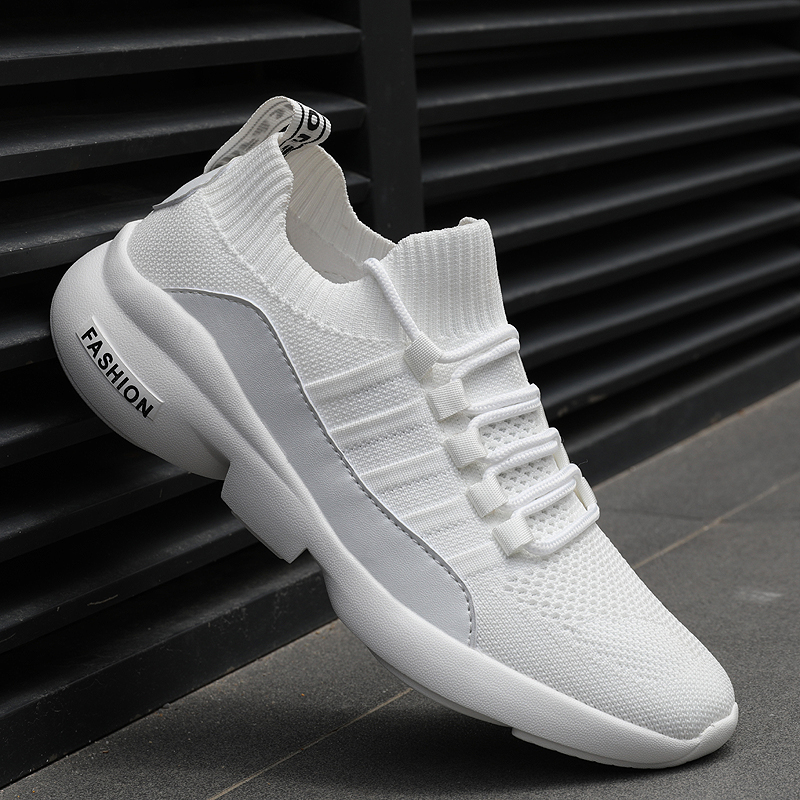 Fashion Sneakers Men Lightweight Running Shoes Breathable Knitted Sock Shoes White Jogging Walking Sport Shoes Male Casual Shoes