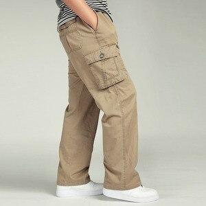 Image 5 - 夏男性のハイウエストパンツ弾性プラスサイズの服 6XLカーゴパンツ男性多くポケットルーズワークパンツ男性ストレートズボン