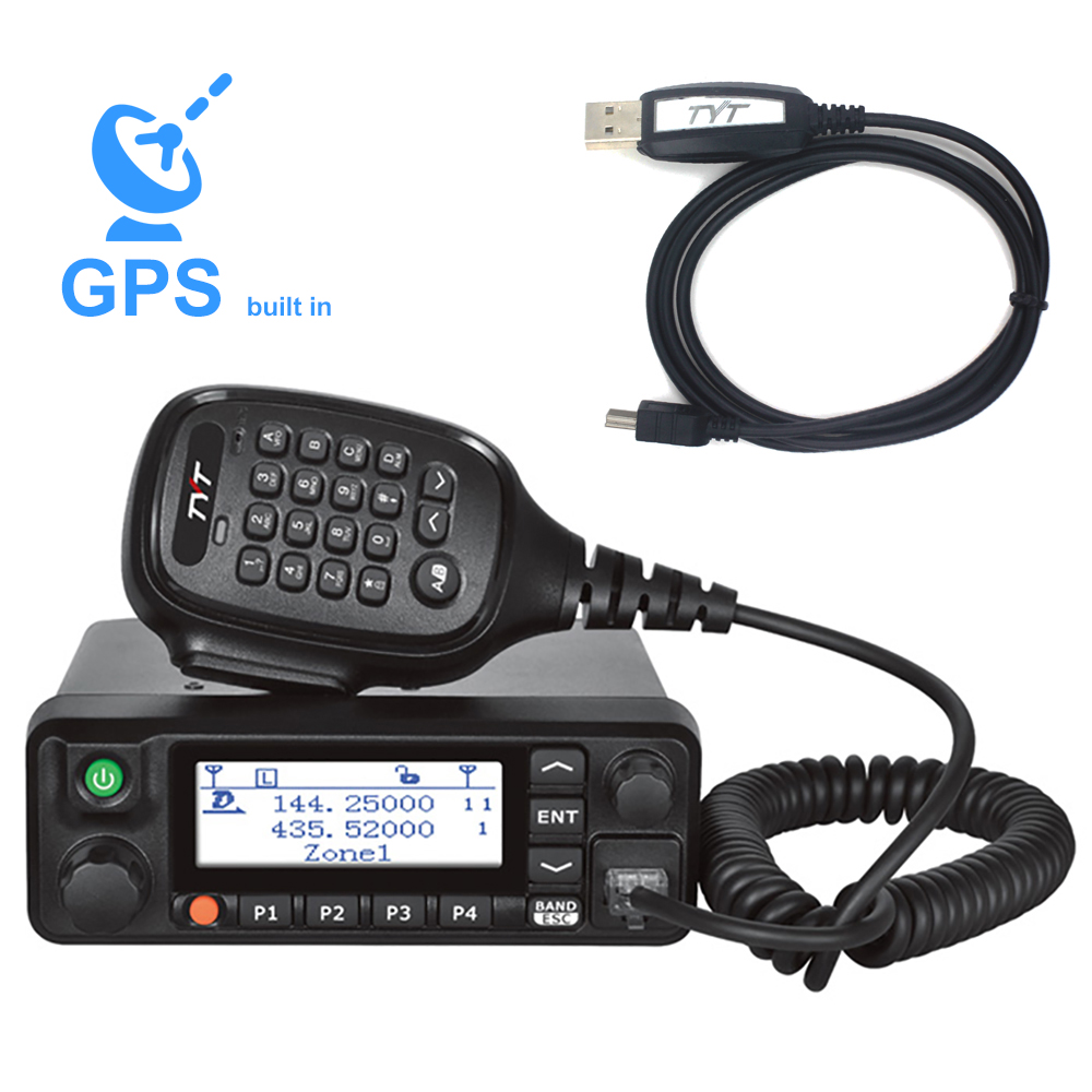 TYT MD-9600 Dual Band 136-174MHz & 400-480Mhz Digital Mobile Radio 50/45/25W High Quality DMR Radio + 1 Programming Cable