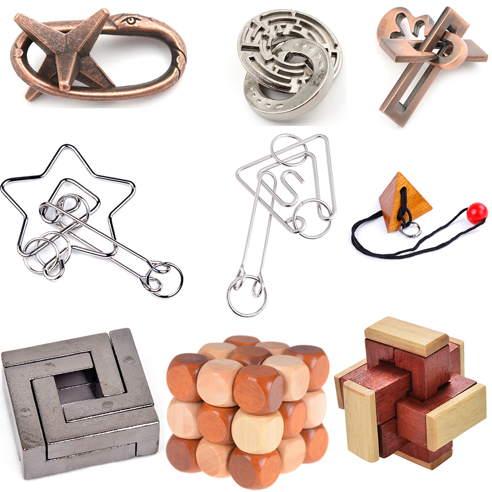 DIY Wooden Metal Toys Classic IQ 3D Wooden Interlocking Burr Puzzles Mind Brain Teaser Game Toy For Adults Children Gift