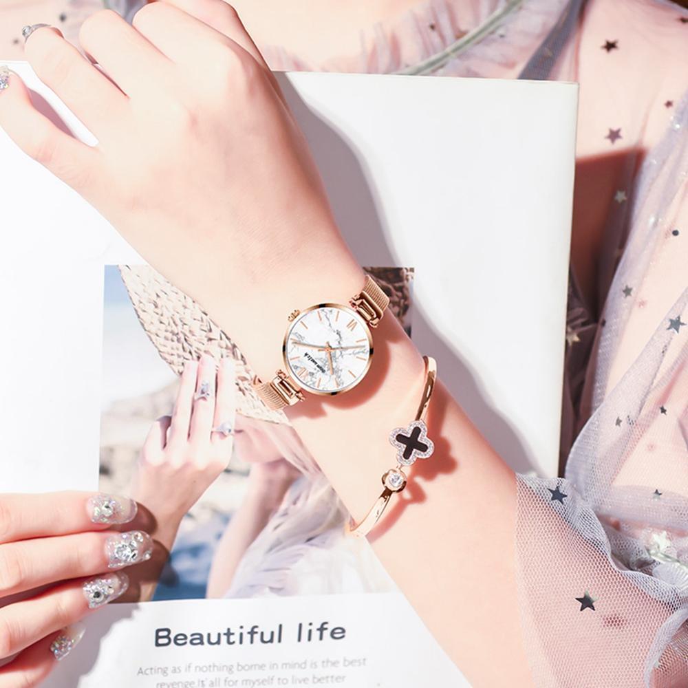 Dom Vrouwen Horloges Top Luxe Mode Vrouwelijke Quartz Horloge Dames Staal Waterdichte Klok Meisje Agaat Patroon Horloge - 5