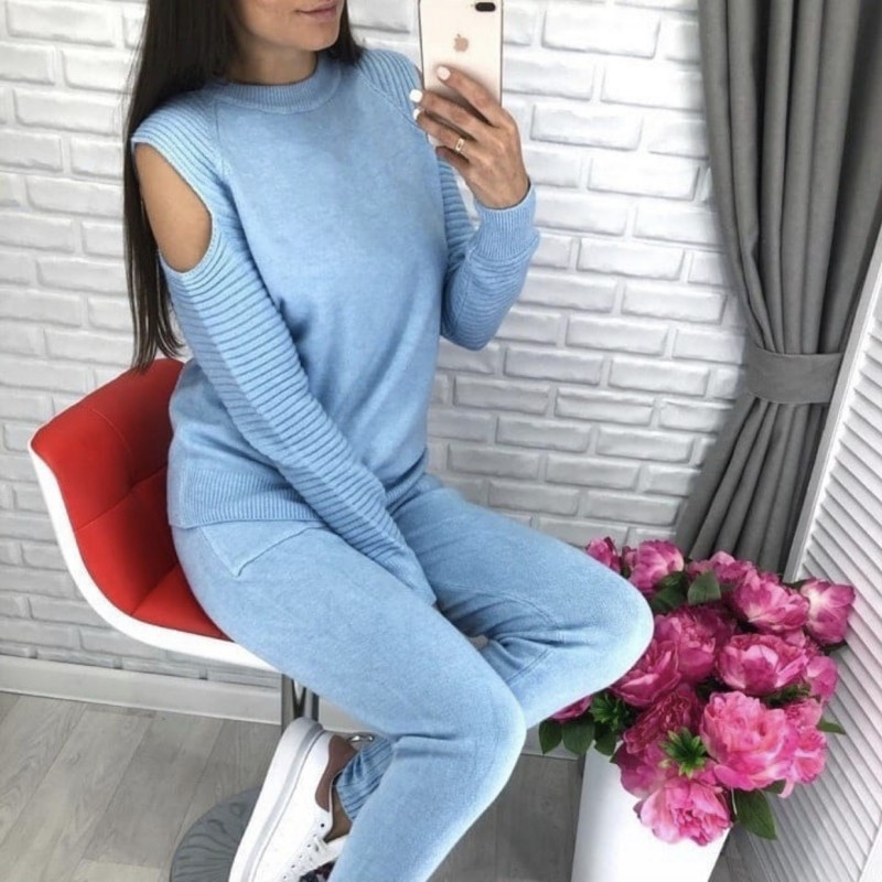 Spring Autumn Women Track Suits Knitted Sweater Pant Suits Jumper Tops+Trousers 2PCS Knitting Open Shoulder Sleeves Clothes Set