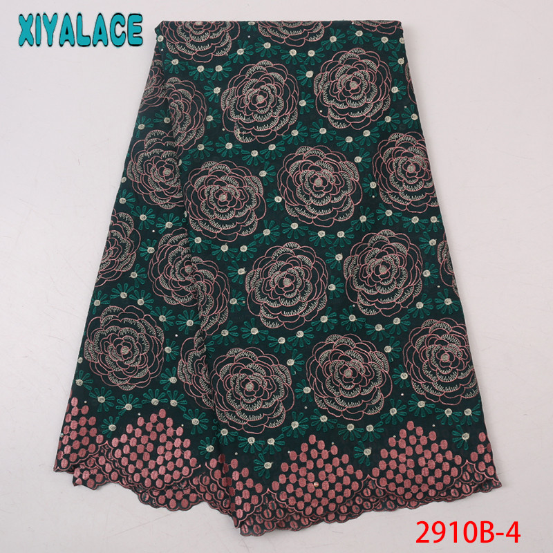High Quality Nigerian Lace Fabric,Arican Dry Lace Fabric ,Swiss Voile With Stones For Women KS2910B-4