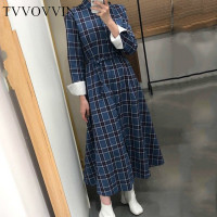 TVVOVVIN Patchwork Plaid Single Breasted Turn down Collar Empire Waist Mid calf A line Women Dress Autumn Korea Style X130