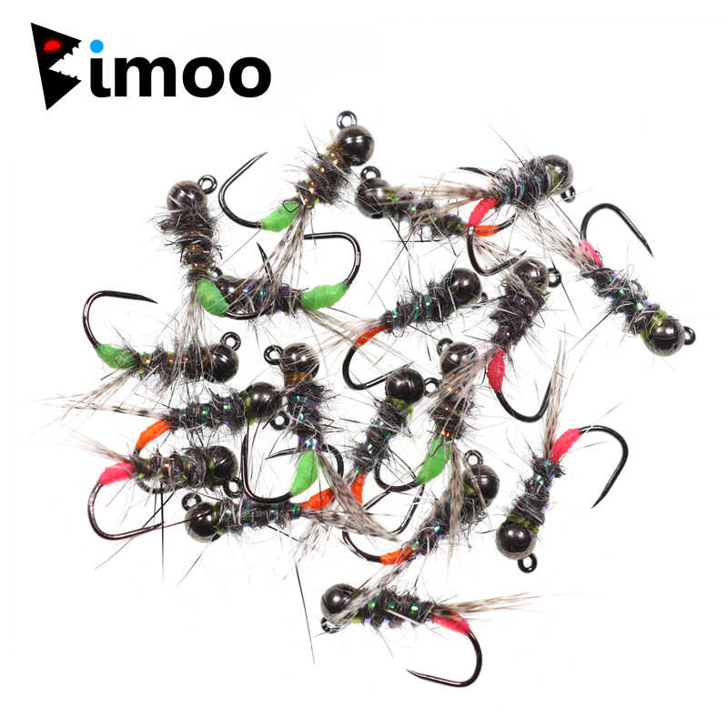 5 Pheasant Tail Nymph Tungsten Jigs Barbless Size 16 Black Bead