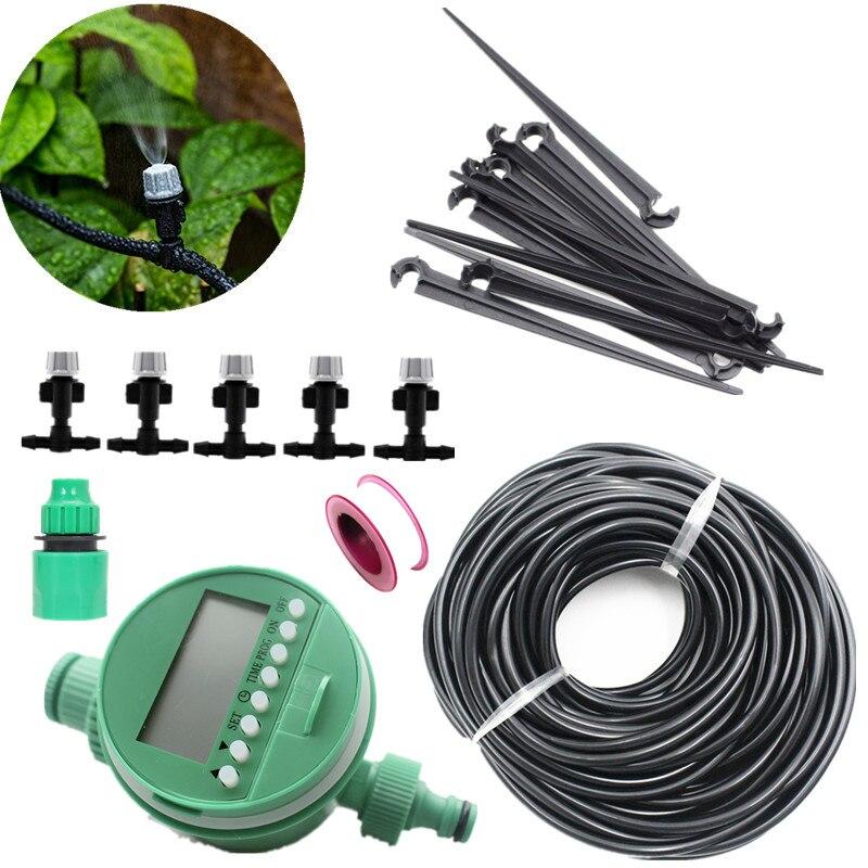 25m Rohr Beschlagen Sprinkler Mit Wasser Timer Garten Bewässerung Tropf Bewässerung System Pflanze Automatische Tropf Sets E231E