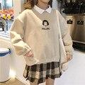 Свитшот женский оверсайз с имитацией двух предметов, худи в Корейском стиле, повседневные Пуловеры свободного кроя, уличная одежда в стиле ...