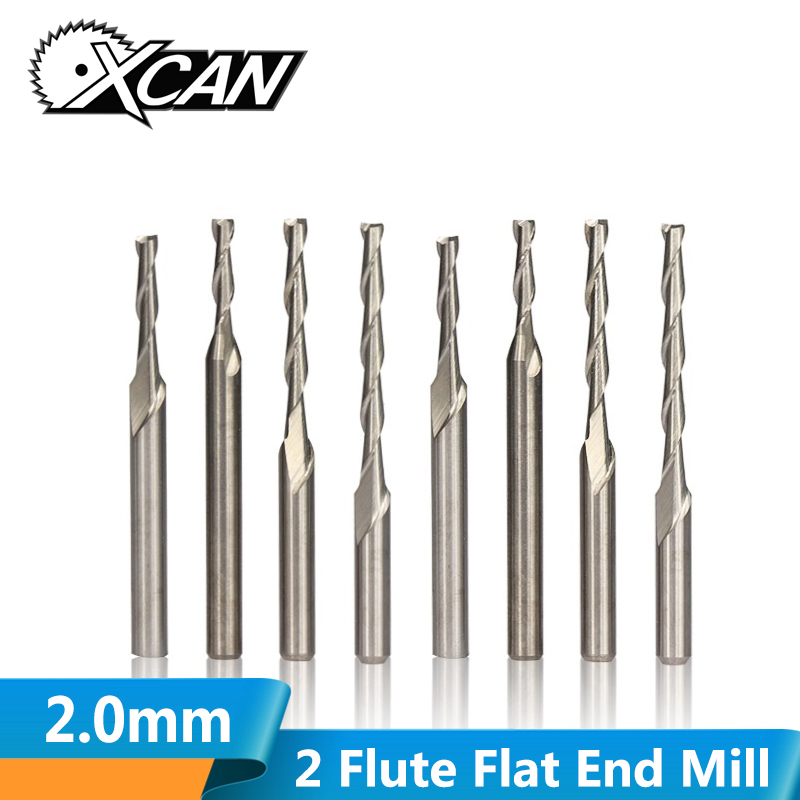 XCAN 10pcs Diameter 2.0mm 2 Flute Flat End Mill 3.175mm Shank Spiral Router Bit CNC Micro End Mills Carbide Milling Cutter