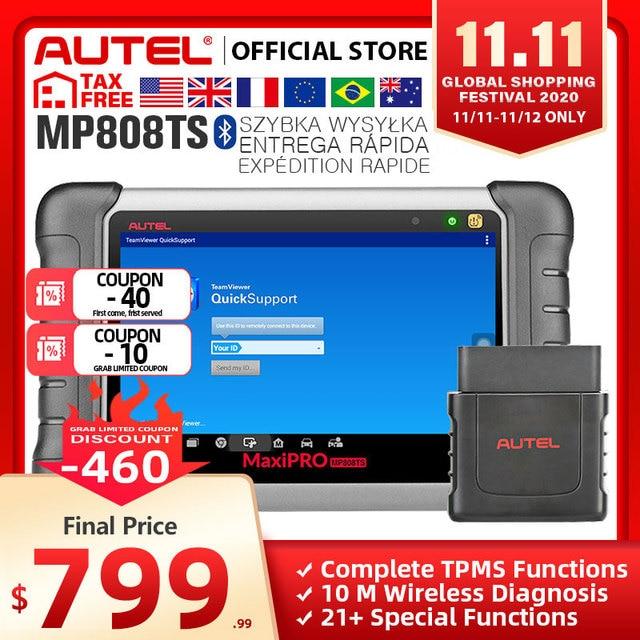 Autel MaxiPRO MP808TS אבחון כלי רכב סורק Bluetooth WIFI TPMS כלי מתכנת חיישן PK MK808 MK808TS AP200