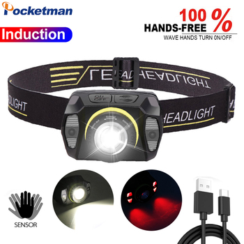 Induction LED Headlamp USB Rechargeable Sensor Headlight Zoomable Head light Waterproof 10000lm Torch with Built-in Battery 1