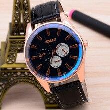 Black Men's Wrist Watch Business Men's Watch Korean Sports Three-Eye Blue Big Light Side Quartz Luxury Watch Men Wristwatch