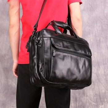 Men Leather Briefcase Bag Vintage Messenger Laptop Bag Black Maletines Hombre Cuero Briefcase Men's Leather Brand Sale