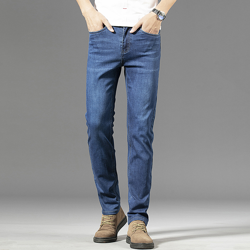 2021 new Brand Men's Slim Fit Jeans Fashion Business Classic Style Stretch Jeans Denim Pants Casual Trousers Male Blue
