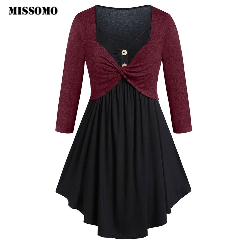 MISSOMO Winter Dress Women Dress Casual Plus Size Contrast Button Tunic Long Sleeve Party Dress Vestidos Vintage Dresses 10