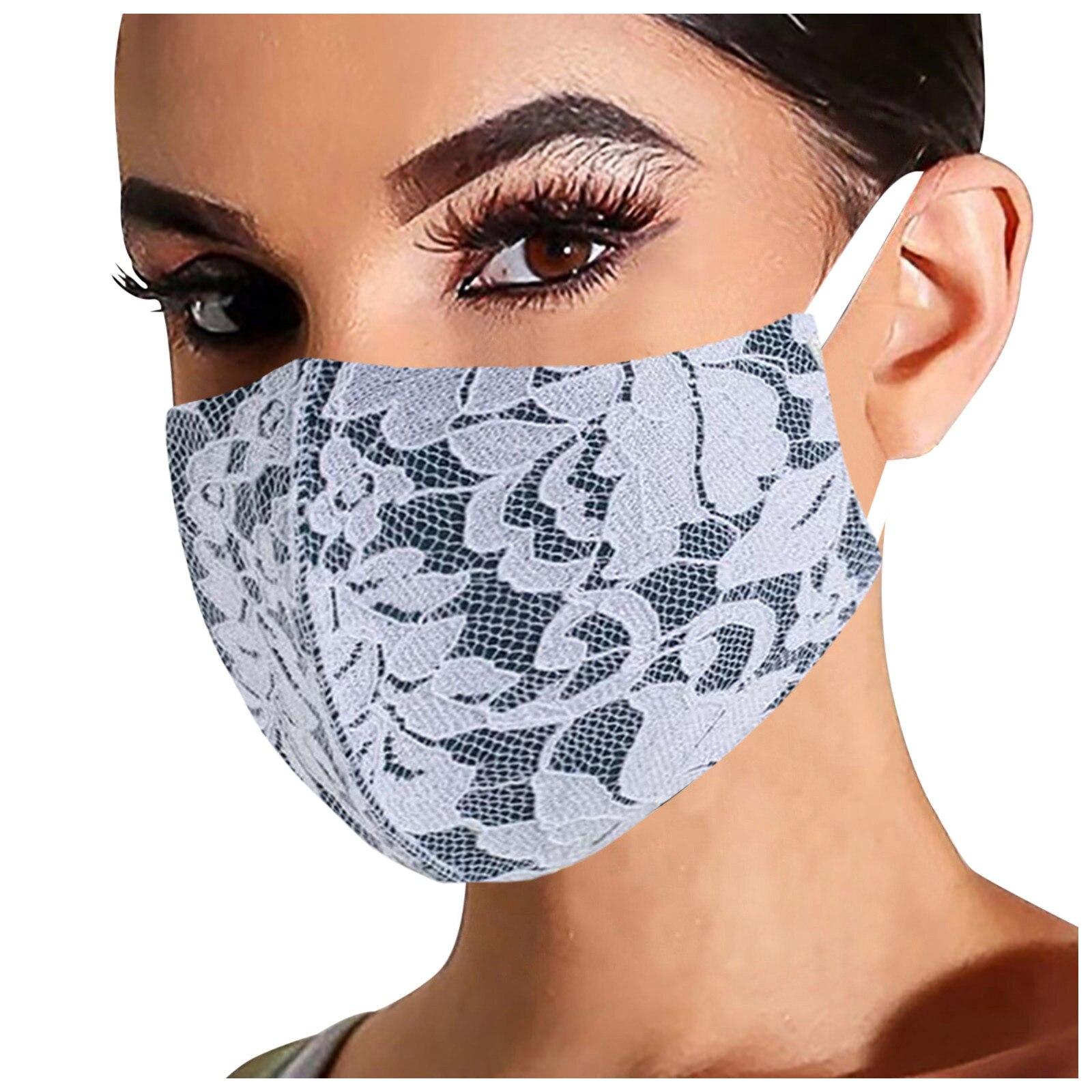 1 шт. Женская Регулируемая моющаяся многоразовая маска уличная кружевная дышащая Защитная Модная хлопковая Ветрозащитная маска для рта ...