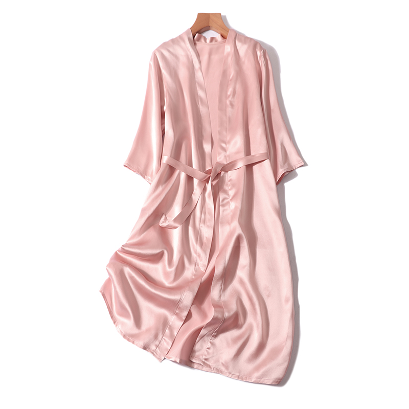 Women Summer 100% Natural Silk Ladies Silk Solid Color Elegant Nightgown Comfortable Sexy Dress