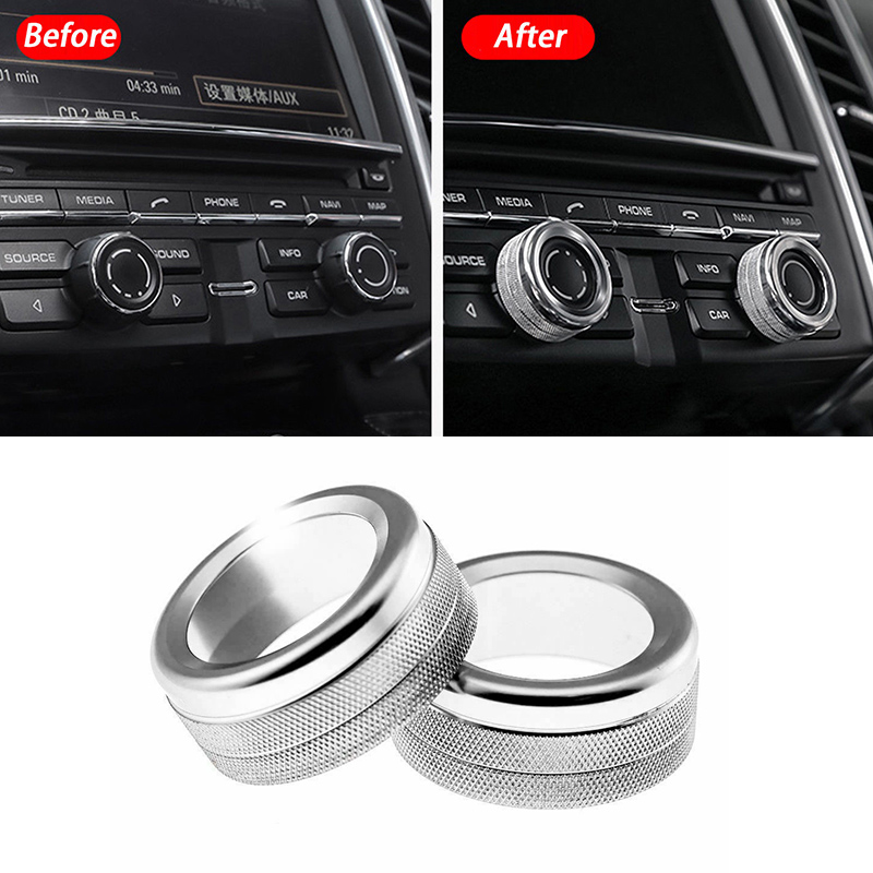 2PCS Car Volume Radio Knob Cover Trim Lightweight For Porsche 911 Cayenne Macan 718 Accessories Interior Mouldings
