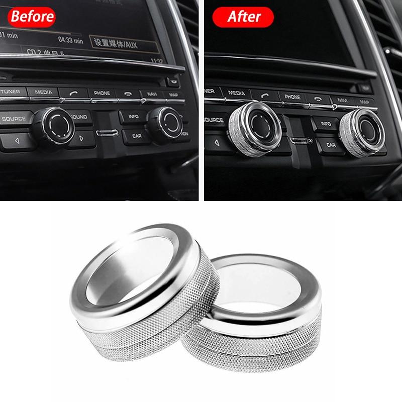 2PCS Car Volume Radio Knob Cover Trim Lightweight For Porsche 911 Cayenne Macan 718 Accessories Interior Mouldings