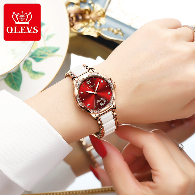 New Fashion OLEVS Luxury Brand Women Mechanical Watch Ceramics Watch Strap Automatic Mechanical Watches for Women Gift for Women 4