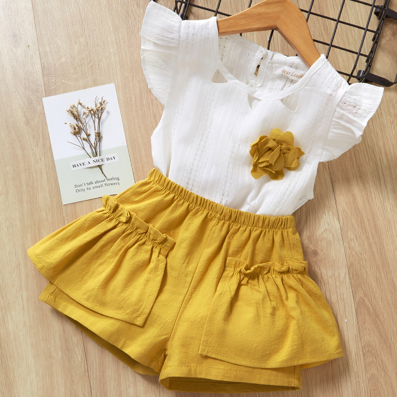 H49edd2132204405db765fc20f2a3051ck Menoea Girls Suits 2020 Summer Style Kids Beautiful Floral Flower Sleeve Children O-neck Clothing Shorts Suit 2Pcs Clothes